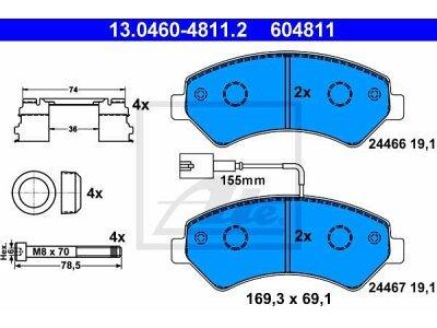 Prednje kočione obloge 13.0460-4811.2 - Citroen, Fiat, Peugeot