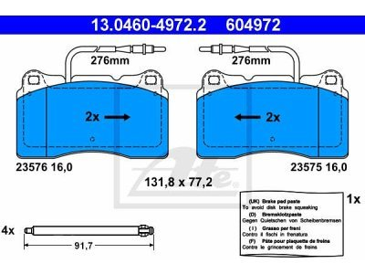 Prednje kočione obloge 13.0460-4972.2 - Peugeot 607 00-