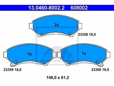 Prednje kočione obloge 13.0460-8002.2 - Opel Sintra 96-99