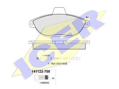 Prednje kočione obloge 42280 - Citroen, Fiat, Peugeot