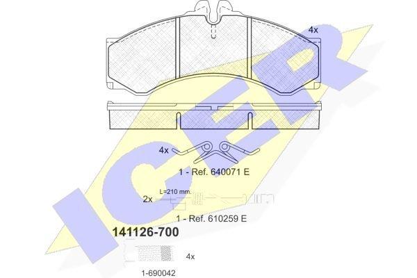 Prednje / Zadnje kočione pločice IE141126-700 - Volkswagen LT 96-06