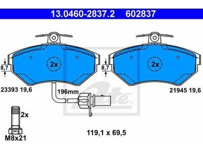 Prednje zavorne obloge 13.0460-2837.2 - Volkswagen Passat 96-00