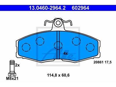 Prednje zavorne obloge 13.0460-2964.2 - Volkswagen Caddy 96-00