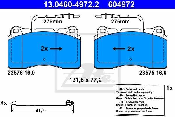 Prednje zavorne obloge 13.0460-4972.2 - Peugeot 607 00-