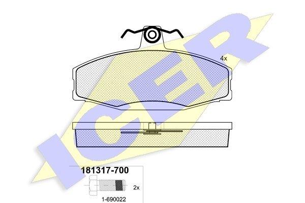 Prednje zavorne obloge IE181317 - Volkswagen Caddy 96-00