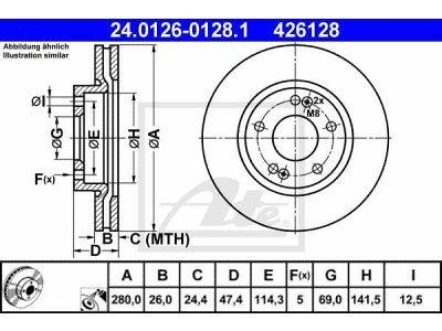 Prednji diskovi kočnica 24.0126-0128.1 - Hyundai Coupe 02-09