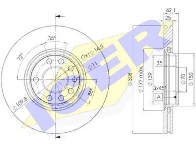 Prednji diskovi za kočnice IEBD9061 - Opel Adam 13-