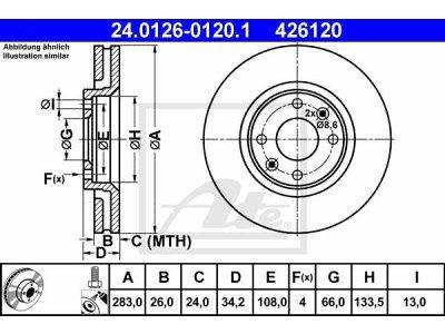 Prednji zavorni diski 24.0126-0120.1 - Peugeot, Citroen