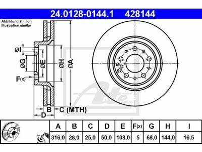 Prednji zavorni diski 24.0128-0144.1 - Volvo S60 00-10