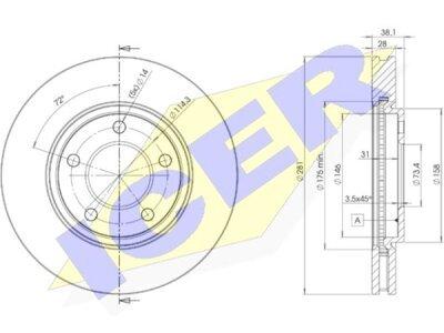 Prednji zavorni diski IEBD3002 - Chrysler Voyager 00-08