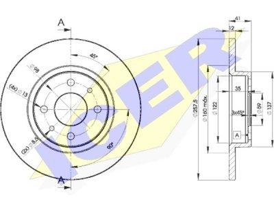 Prednji zavorni diski IEBD3466 - Fiat Tempra 90-96