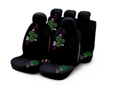 Presvlake sjedala Bottari, komplet, zelene/ljubičasta cvijeće