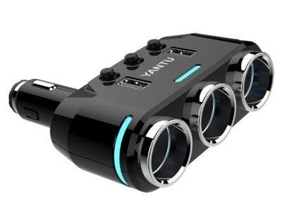 Prilagodljivi adapter za cigaretni vžigalnik, 3 vhodi 12/24V DC + 2 USB
