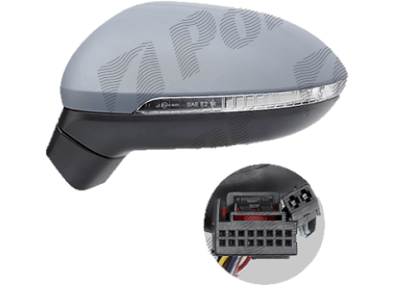 Retrovizor 95D3514M - Volkswagen Passat 14-, detektor mrtvog ugla, dodatno osvetlenje, 11 koneketora
