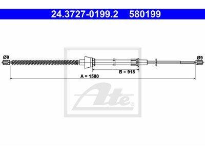 Sajla ručne kočnice 24.3727-0199.2-Škoda Fabia 99-14