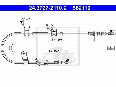 Sajla ručne kočnice Mitsubishi Colt 02-12, pozadi, levo