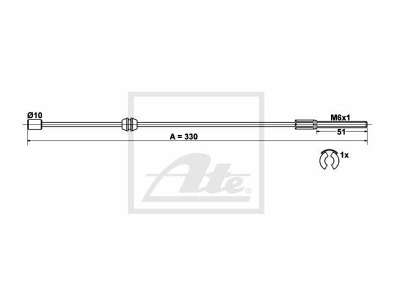 Sajla ručne kočnice Opel Corsa 00-09, pozadi, 330 mm