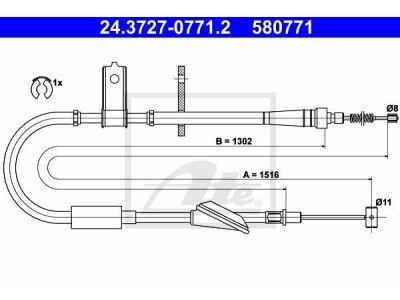 Sajla ručne kočnice Suzuki Wagon R+ 00-, pozadi, levo, 1516mm