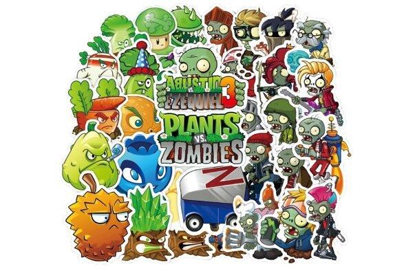 Set zabavnih naljepnica Biljke protiv zombiji - 100 komada - Super kvaliteta, Besplatna dostava