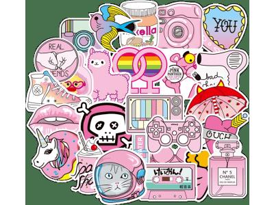 Set zabavnih naljepnica u ružičastom - 100 komada - Super kvaliteta, Besplatna dostava