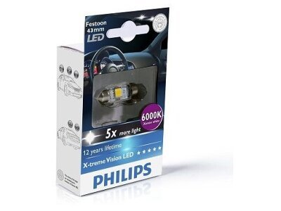 Sijalica C5W LED Philips X-TremeVision (43 mm) 6000K - PH129466000KX1