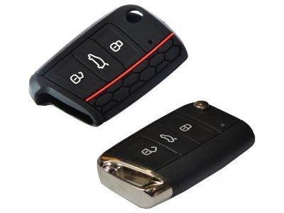 Silikonska zaščita za avto ključ SEL031 - Škoda, črna