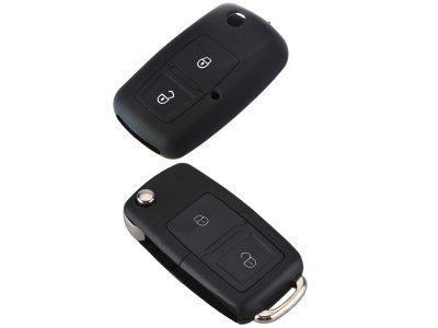 Silikonska zaščita za avto ključ SEL032 - Škoda, črna