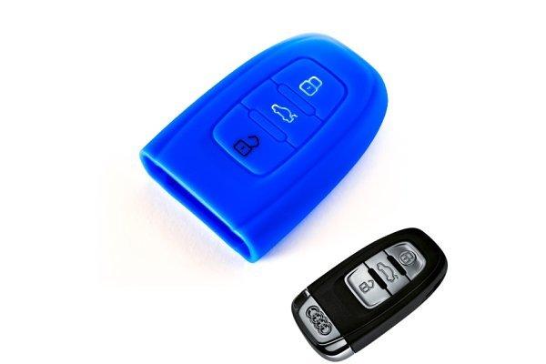 Silikonska zaščita za avto ključ SELM007 - Audi, modra