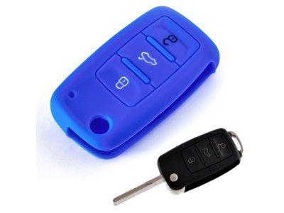 Silikonska zaščita za avto ključ SELM030 - Škoda, modra
