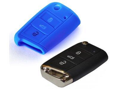 Silikonska zaščita za avto ključ SELM047 - Škoda, modra