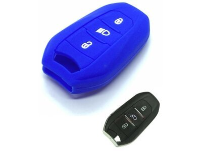 Silikonska zaščita za avto ključ SELM138 - Peugeot, modra