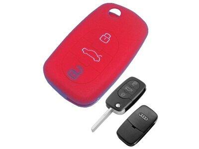 Silikonska zaščita za avto ključ SELR005 - Audi, rdeča