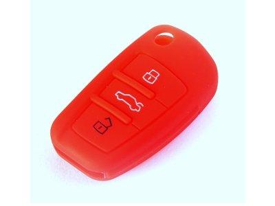 Silikonska zaščita za avto ključ SELR006 -  Audi, rdeča