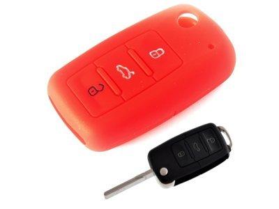 Silikonska zaščita za avto ključ SELR030 - Škoda, rdeča