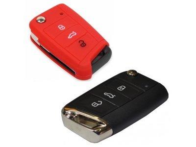 Silikonska zaščita za avto ključ SELR047 - Škoda, rdeča
