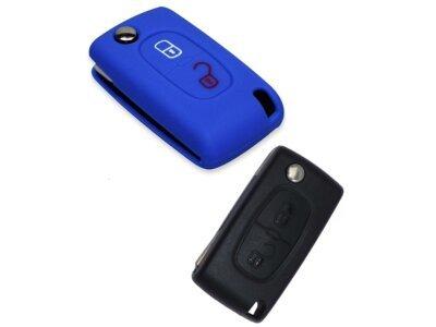 Silikonska zaštita za auto ključ SEL011 - Peugeot, plava