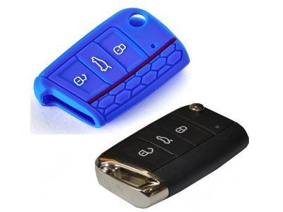 Silikonska zaštita za auto ključ SEL031 - Ĺkoda, plava