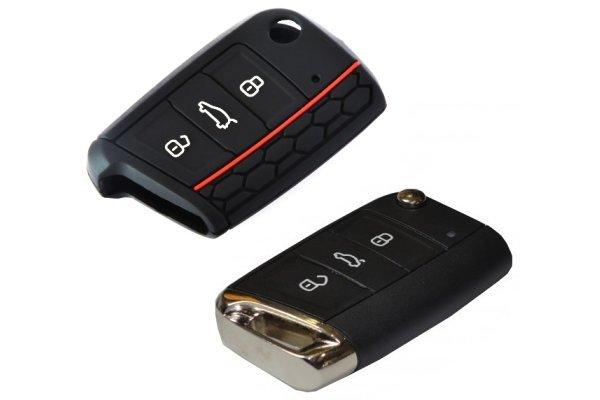 Silikonska zaštita za auto ključ SEL031 - Škoda, crna