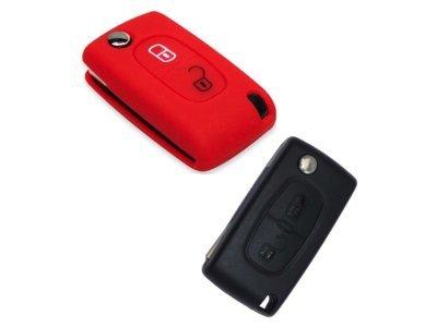Silikonska zaštita za auto ključ SELR011 - Peugeot, crvena