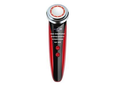 Sonična naprava z lučko za čiščenje obraza, rdeča