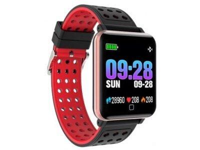 Športna pametna ura M19, 1,3 inch velik zaslon, spremljanje spanca, merilec krvnega tlaka, Črno-Rdeča