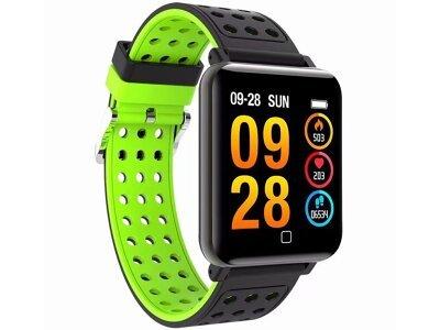 Športna pametna ura M19, 1,3 inch velik zaslon, spremljanje spanca, merilec krvnega tlaka, Črno-Zelena