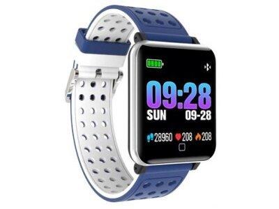 Športna pametna ura M19, 1,3 inch velik zaslon, spremljanje spanca, merilec krvnega tlaka, Modro-Bela