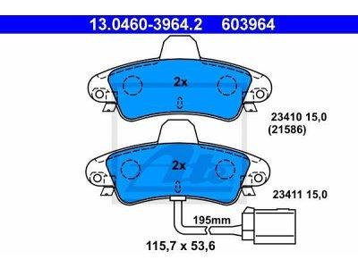 Stražnje kočione obloge 13.0460-3964.2 - Ford Mondeo -00