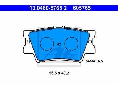 Stražnje kočione obloge 13.0460-5765.2 - Toyota Rav4 00-10