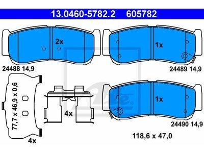 Stražnje kočione obloge 13.0460-5782.2 - Hyundai Santa Fe 01-09