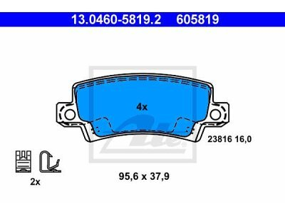 Stražnje kočione obloge 13.0460-5819.2 - Toyota Corolla 00-08