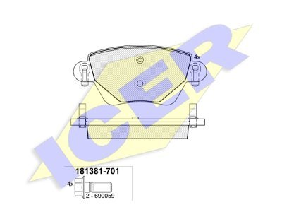Stražnje kočione obloge 61680 - Ford