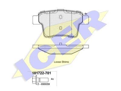 Stražnje kočione obloge 81763 - Ford