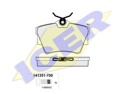 Stražnje kočione obloge IE141351-700 - Nissan, Opel, Renault